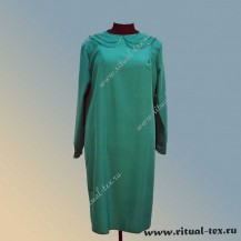 Платье габардиновое с воротничком и манжетами, цвет зеленый