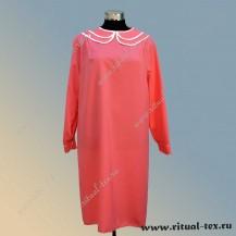 Платье габардиновое с воротничком и манжетами, цвет розовый