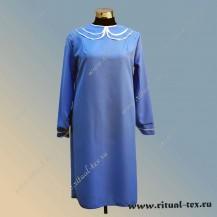 Платье габардиновое с крестиком из страз, цвет синий