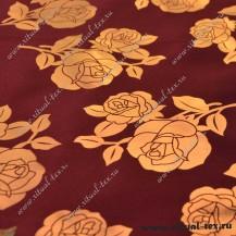 Ткань атлас с накатом роза крупная