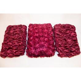 Атлас с крупными нашивными розами бордо, боковина атлас