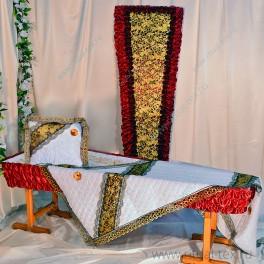 Гроб набивная парча+комплект КШПА