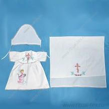 Набор крестильный для девочки (платье, полотенце, косынка)