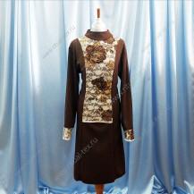 Платье ритуальное с гипюровой вставкой