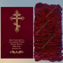 Обивка бархатная дорогая с крестом и молитвой
