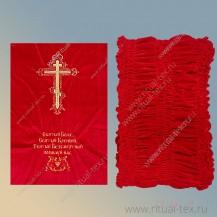 Обивка бархатная дорогая с крестом и молитвой, цвет красный