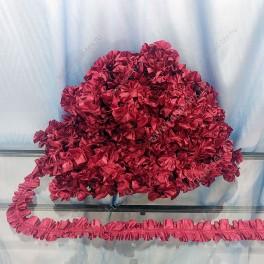 Рюш блестящий шелк, бордо, 5 см, бабочка