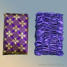 Парча фиолетовая церковный крест золотой, бок атлас