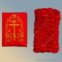 Атлас красный термостежка, вышитый крест, бок атлас