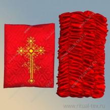 Атлас термостежка, красная с вышитым крестом, бок атлас
