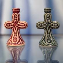 Подсвечник крест ажурный, керамический, арт. К-061