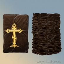 Обивка крышка бархат дорогой шоколад с вышитым крестом и молитвой, боковина бархат дорогой 5 стр.
