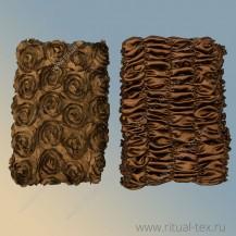 Обивка, крышка атлас нашивная крупная роза цвет шоколад, боковина атлас шоколад, 5 стр.