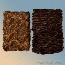 Обивка крышка атлас крупная нашивная роза цвет шоколад, боковина бархат дорогой шоколад, 5 стр.