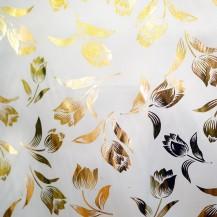 Ткань атлас с накатом золотой тюльпан