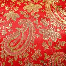 Ткань цвет красный с огурцом золото