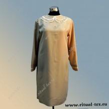 Платье габардиновое с крестиком из страз, цвет бежевый