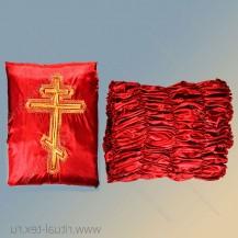 """Шелк с вышивкой """"Крест"""", боковина шелк, цв.красный"""