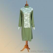 """Габардин """"Рельеф"""", кружевное полотно, цвет оливковый, 8926-Olive"""