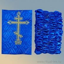 Атлас термостежка, синяя с вышитым крестом, бок атлас