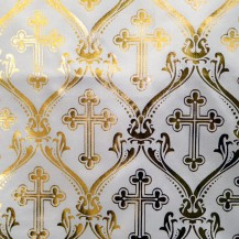 Ткань атлас с накатом большой золотой крест